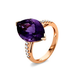 Amethyst Ring mit Diamanten Rotgold 750