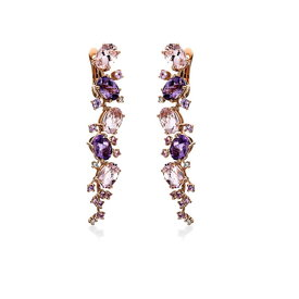 Farbedelstein Ohrringe Morganit Amethyst Saphir Rotgold 750