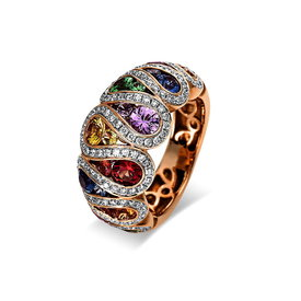 Saphir Diamant Ring Rainbow Rotgold/Weißgold 750