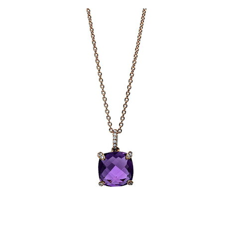 Amethyst Diamant Collier Rotgold 750