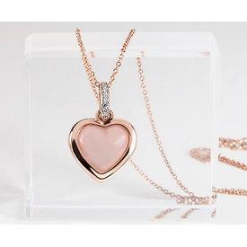 Rosenquarz Herz Collier Silber 925 rosévergoldet
