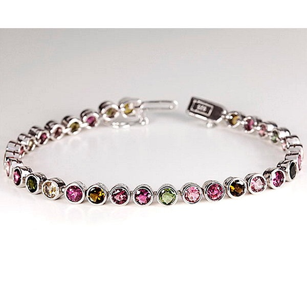 Armband mit Turmalinen  multicolor Sterling Silber 925