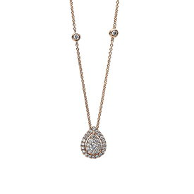 Diamant Collier Tropfen 0,35 ct Rotgold 750