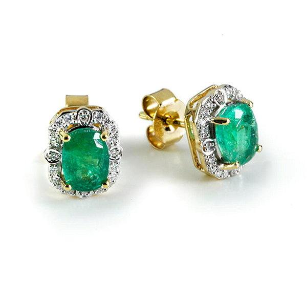 Ohrstecker mit Smaragd und Diamanten, 585er Gelbgold