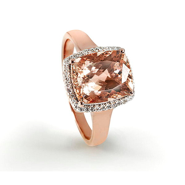 Ring mit Morganit und Diamanten, 585er Rotgold