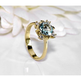 Aquamarin Diamant Ring Gelbgold 585