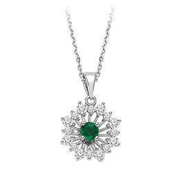 Smaragd Diamant Collier Weißgold 585