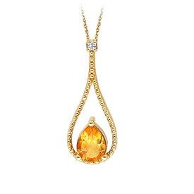 Citrin Diamant Collier Tropfen Gelbgold 333