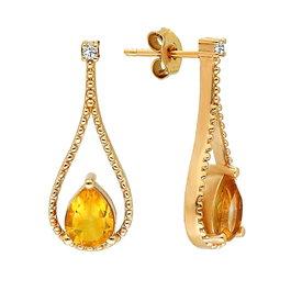 Citrin Diamant Ohrhänger Tropfen Gelbgold 333
