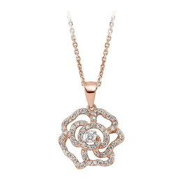Diamant Collier Blüte 0,36 ct Rotgold 585