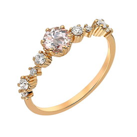 Morganit Diamant Ring Rotgold 585