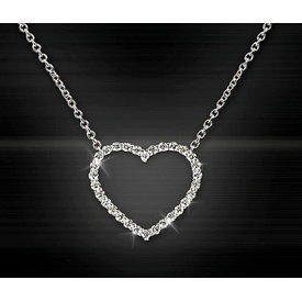 Herz Diamant Collier 0,50 ct Weißgold 750
