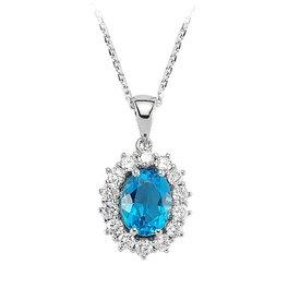 Blautopas Diamant Collier Weißgold 750