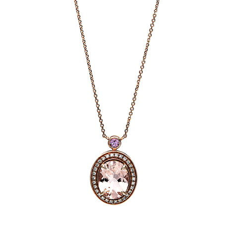 Morganit Diamant Collier Rotgold 750