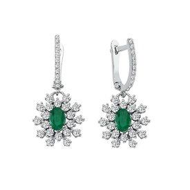 Smaragd Diamant Ohrringe Weißgold 585