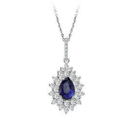 Saphir Diamant Collier Tropfen Weißgold 585