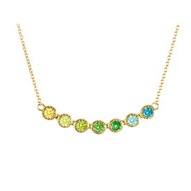 Zirkonia Collier Multicolor Silber vergoldet