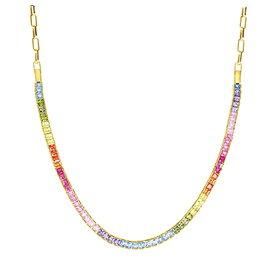 Zirkonia Collier Rainbow Silber vergoldet