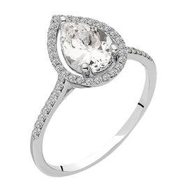Weißer Topas Diamant Ring Weißgold 585
