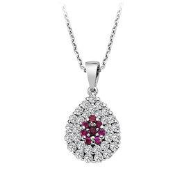 Rubin Diamant Collier Tropfen Weißgold 750