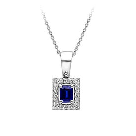 Saphir Diamant Collier Weißgold 585