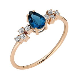 Blauer Topas Diamant Ring Rotgold 585
