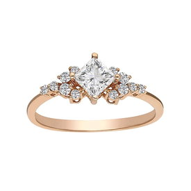 Weißer Topas Diamant Ring Rotgold 585
