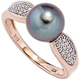 Tahitiperlen Diamant Ring Rotgold 585