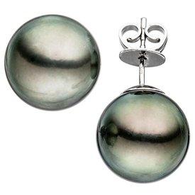 Perlen-Ohrstecker, Weißgold 585, Tahiti-Perlen 12 mm