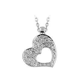 Herz Diamant Collier Weißgold 585