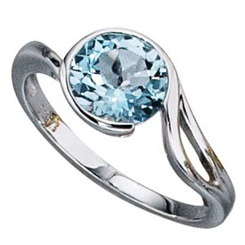 Weißgold Ring 585  mit Blautopas