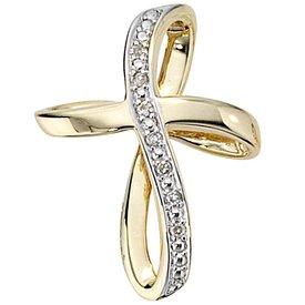 Kreuz-Anhänger, Gelbgold 585, Diamanten