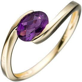 Amethyst Ring Gelbgold 333