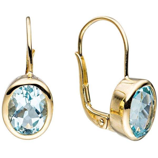 Ohrringe mit Blautopas, Gelbgold 333