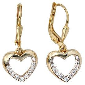 Herz Ohrringe mit Zirkonia Gelbgold 333