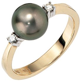 Tahitiperlen Ring mit Diamant Gelbgold 585
