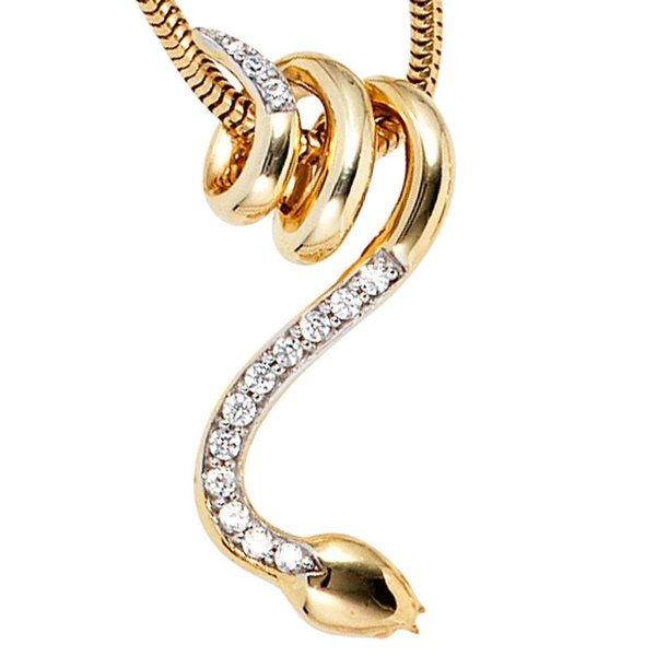 Anhänger - Schlange - (585) Gelbgold mit Diamanten