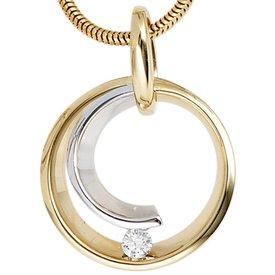 Diamant Anhänger 0,10 ct Gelbgold/Weißgold 585