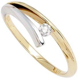 Solitär Diamantring 0,10 ct Gelbgold/Weißgold 585