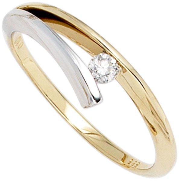 Diamantring (585) Gelb- und Weißgold