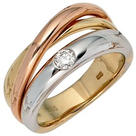 Diamantring Gold 585 tricolor