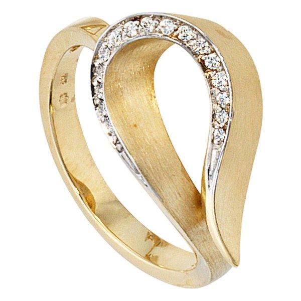 Diamantring aus 585 Gelbgold, teilrhodiniert und teilmattiert mit 16 Diamanten