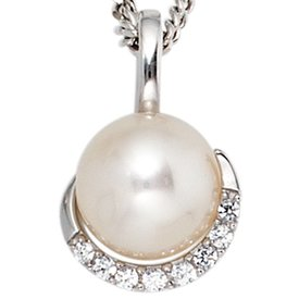 Perlen Diamant Anhänger Weißgold 585