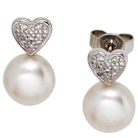 Perlen-Diamant-Herz-Ohrstecker 585 Weißgold