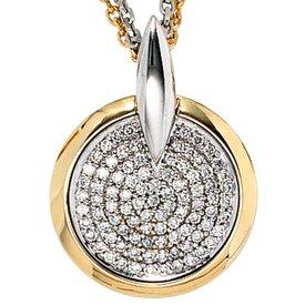 Diamant-Anhänger Weißgold/Gelbgold 585