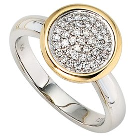 Diamantring 585 Gelbgold und Weißgold kombiniert