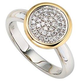 Diamantring Gelbgold und Weißgold 585