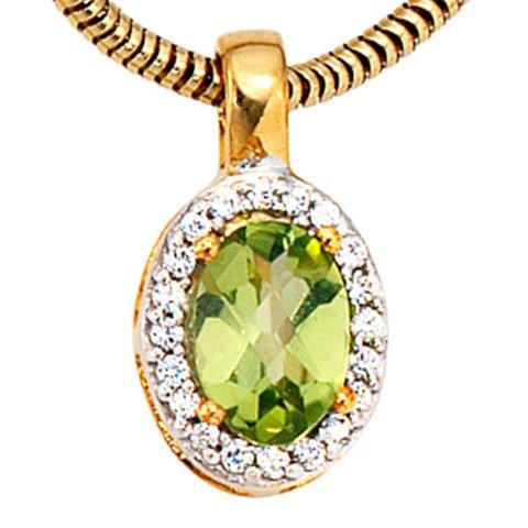 Peridot Diamant Anhänger Gelbgold 585