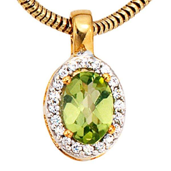 Goldanhänger 585 Gelbgold mit 1 Peridot und 20 Diamanten