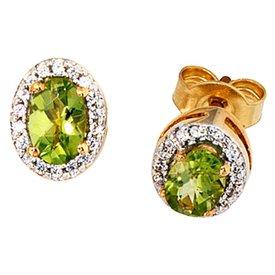 Peridot Diamant Ohrstecker Gelbgold 585